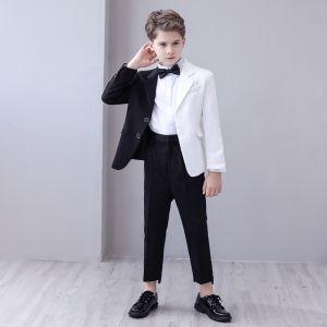 Unique Deux tons Noire Blanche Costumes De Mariage pour garçons 2020