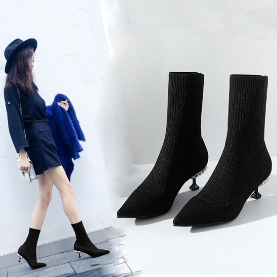 Mooie / Prachtige Zwarte Toevallig Dames Laarzen 2019 Polyester 6 cm Naaldhakken / Stiletto Spitse Neus Laarzen