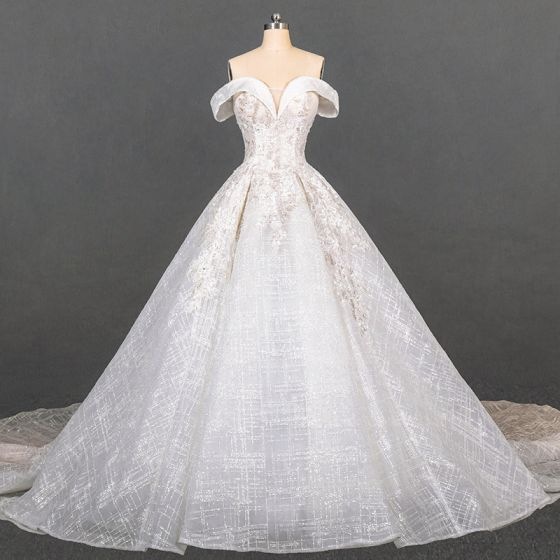 Luxury / Gorgeous Ivory Bridal Wedding Dresses 2020 Ball Gown Off-The-Shoulder Short Sleeve Backless Glitter Tulle Appliques Lace Beading Cathedral Train Ruffle