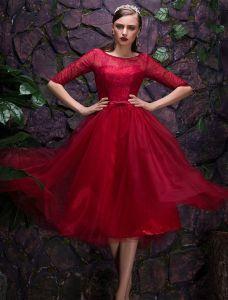 2016 Beautiful Scoop Neckline 1/2 Sleeves Burgundy Christmas Party Dress