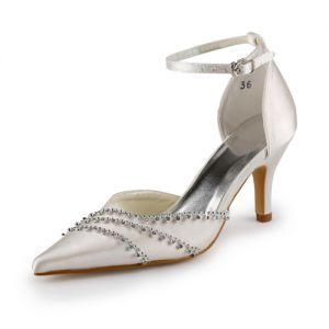 Luxury Pointed Toe Mid Heels Champagne Satin Sandals Wedding Shoes With Crystal