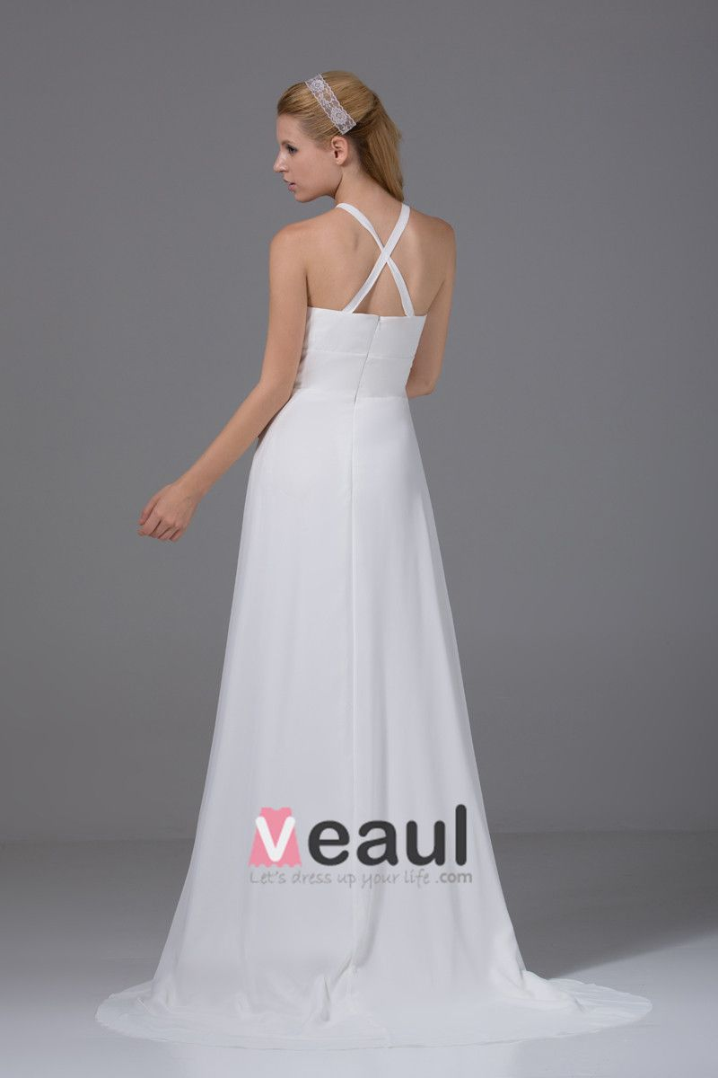 Elegant Halter Floor Length Pleated Chiffon Empire Wedding Dress