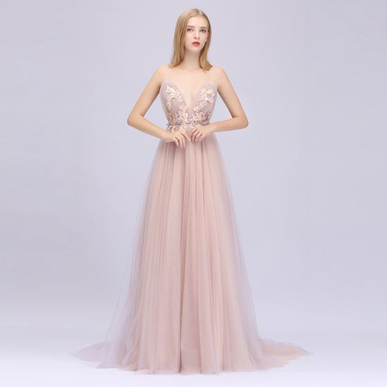 Sexy Pearl Pink Prom Dresses 2020 A-Line / Princess Spaghetti Straps Sleeveless Appliques Flower Beading Sequins Sweep Train Ruffle Backless Formal Dresses
