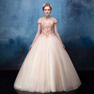 Vintage Champagne Prom Dresses 2017 Ball Gown High Neck Short Sleeve Sequins Beading Floor-Length / Long Ruffle Backless Formal Dresses