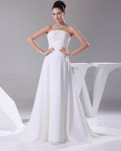 Elegante Chiffon Satijn Kantwerk Kralen Strapless Vloer Lengte Vrouwen Trouwjurken Bruidsjurken