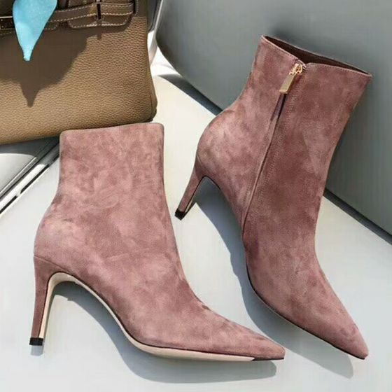 Chic / Beautiful Blushing Pink Street Wear Suede Womens Boots 2021 Ankle 8 cm Stiletto Heels Pointed Toe High Heels Boots