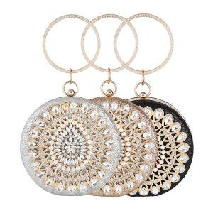 Traditionnel Ronds Glitter Pochette 2020 Métal Perle Faux Diamant
