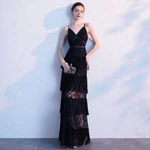 Sexy Black Evening Dresses  2020 A-Line / Princess Spaghetti Straps Lace Sleeveless Backless Floor-Length / Long Formal Dresses