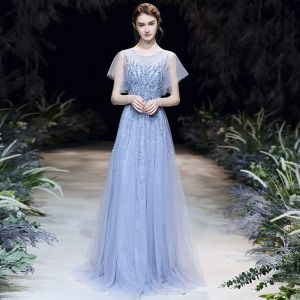 High-end Sky Blue See-through Evening Dresses  2020 A-Line / Princess Scoop Neck Short Sleeve Appliques Sequins Beading Floor-Length / Long Ruffle Formal Dresses