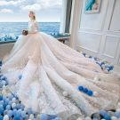 Chinese style Ivory Beading Wedding Dresses 2019 A-Line / Princess High Neck Bow Pearl Lace Flower Rhinestone Tassel Sequins 3/4 Sleeve Royal Train