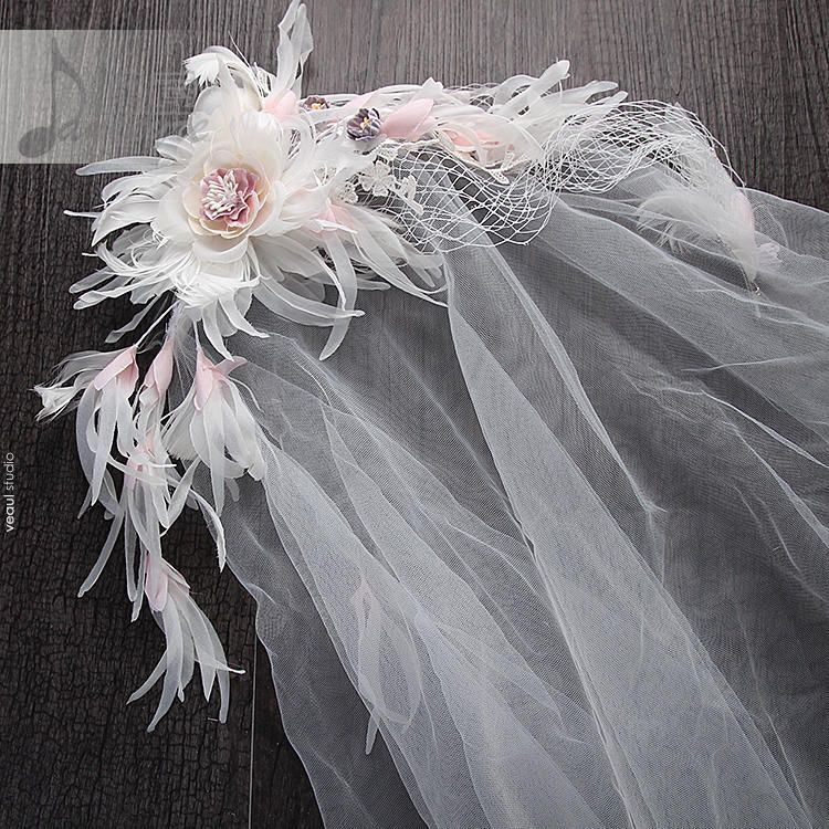 Luxury / Gorgeous 2017 1.5 m Blushing Pink White Lace Appliques Flower Tulle Wedding Veils