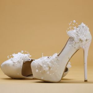 Chic / Beautiful Ivory Wedding Shoes 2019 Butterfly Lace Flower Pearl 14 cm Stiletto Heels Round Toe Wedding Pumps