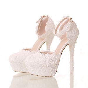 Elegant White Wedding Shoes 2018 Lace Flower Pearl Ankle Strap 14 cm Stiletto Heels Round Toe Wedding High Heels