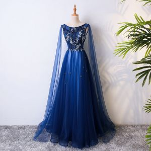 Chic / Beautiful Royal Blue Evening Dresses  2017 A-Line / Princess Lace Flower Crystal Beading Scoop Neck Backless Sleeveless Floor-Length / Long Formal Dresses