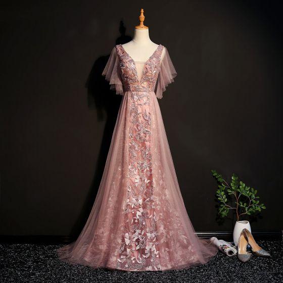 Eleganckie Różowy Perłowy Sukienki Wieczorowe 2019 Princessa Z Koronki Frezowanie Kryształ V-Szyja Kótkie Rękawy Bez Pleców Trenem Sweep Sukienki Wizytowe