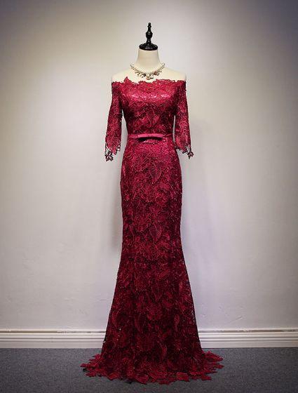 a50457350 Vestidos De Noche 2016 Elegante Del Hombro Gruesa Burdeos De Encaje Vestido  De Noche Largo Con ...