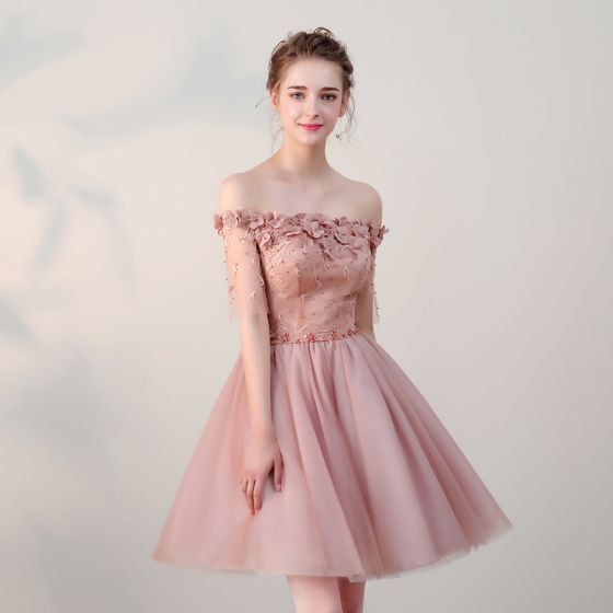 Niedrogie Sukienki Wizytowe 2017 Sukienki Na Studniówke Z Koronki Aplikacje Perła Przy Ramieniu Bez Pleców 1/2 Rękawy Różowy Perłowy Krótkie Princessa