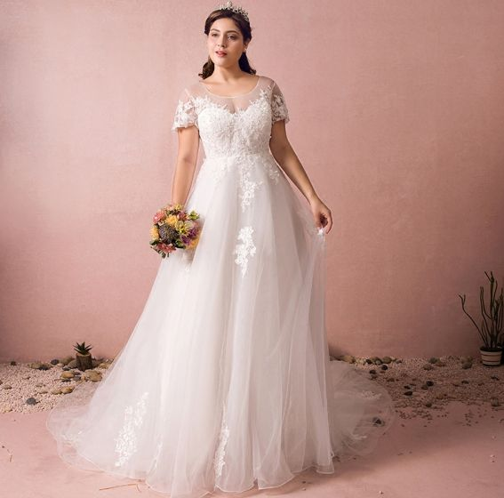 Luxury / Gorgeous Ivory Plus Size Wedding Dresses 2018 A-Line / Princess  Tulle U-Neck Lace-up Appliques Backless Beading Sequins Wedding