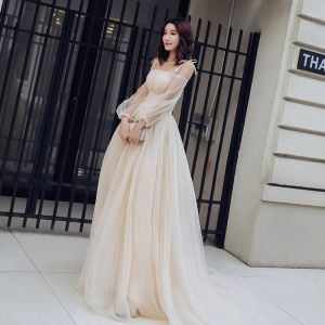 Charming Champagne Summer Prom Dresses 2018 Empire Spaghetti Straps Off-The-Shoulder Long Sleeve Chapel Train Ruffle Backless Formal Dresses