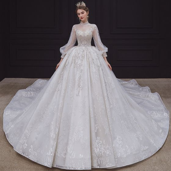 Victorian Style Ivory See-through Bridal Wedding Dresses 2020 Ball Gown High Neck Puffy Long Sleeve Backless Appliques Sequins Beading Cathedral Train Ruffle