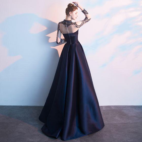 Vintage / Retro Navy Blue Evening Dresses  2019 A-Line / Princess High Neck Beading Crystal Long Sleeve Floor-Length / Long Formal Dresses