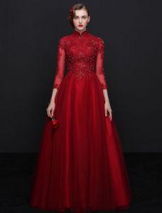 Elegante Cheongsam Verbesserte Abendkleider 2017 Hohen Hals Pailletten Burgunder Tüll Kleid