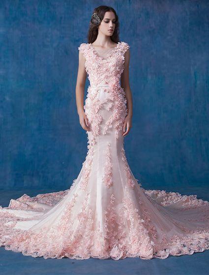 Glamour Robe De Mariée Sirène En Organza Rose Robe De Mariage Applique