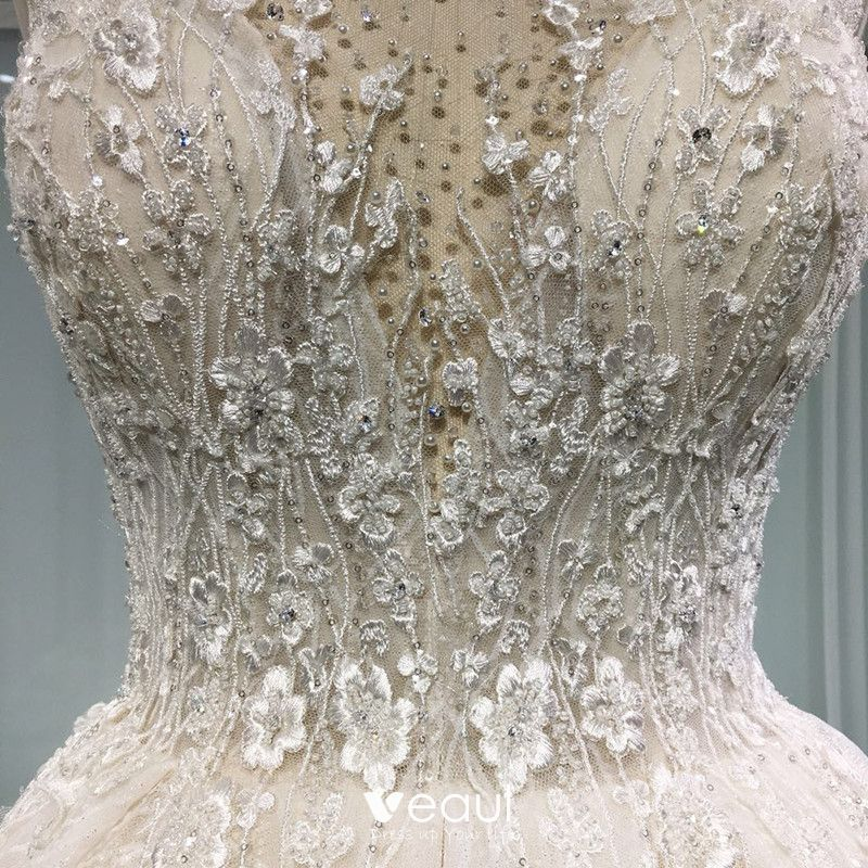 Elegant Champagne See-through Wedding Dresses 2019 A-Line / Princess Scoop Neck Sleeveless Backless Appliques Lace Pearl Beading Glitter Tulle Cathedral Train Ruffle