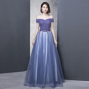 Elegant Royal Blue Evening Dresses  2018 A-Line / Princess Off-The-Shoulder Short Sleeve Beading Rhinestone Bow Sash Floor-Length / Long Ruffle Backless Formal Dresses