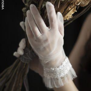 Clásico Elegantes Blanco 2020 Guantes de novia Con cordones Tul Apliques Boda Accesorios