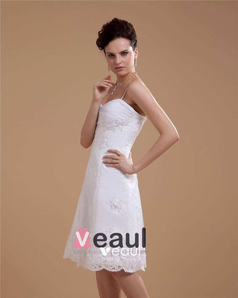 Satin Lace Beading Spaghetti Straps Short Bridal Gown Wedding Dress
