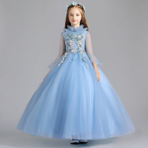 Vintage / Retro Pool Blue Flower Girl Dresses 2019 A-Line / Princess High Neck Bell sleeves Appliques Lace Pearl Floor-Length / Long Ruffle Wedding Party Dresses