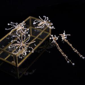 Schlicht Gold Brautschmuck 2020 Metall Perle Kristall Kopfschmuck Quaste Ohrringe Haarschmuck Braut
