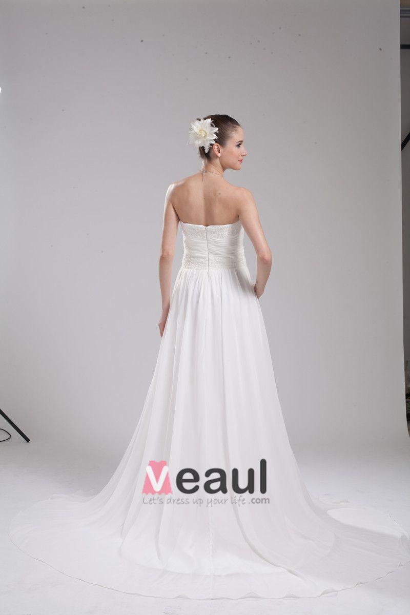 Fashion Chiffon Charmeuse Beading Strapless Floor Length Empire Wedding Dress