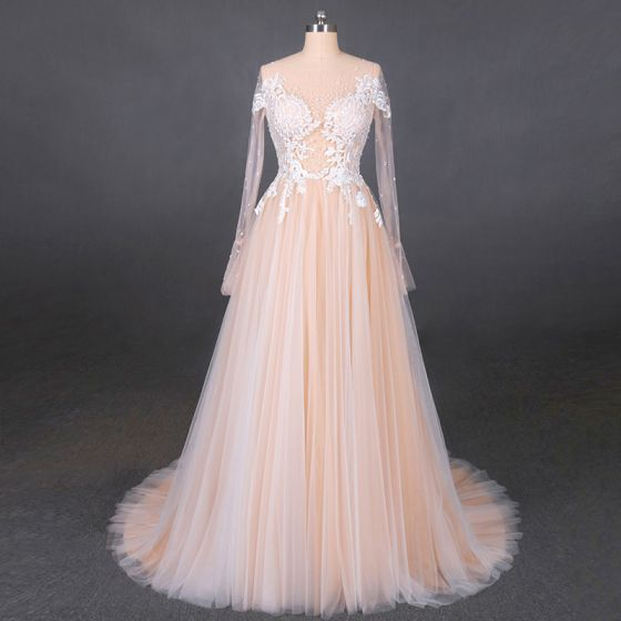 High-end Champagne Bridal Wedding Dresses 2020 A-Line / Princess See-through Scoop Neck Long Sleeve Appliques Lace Beading Pearl Sweep Train Ruffle