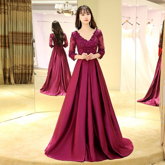 Classic Fuchsia Evening Dresses  2017 A-Line / Princess Sweep Train V-Neck Long Sleeve Backless Lace Appliques Beading Pearl Sequins Sash Formal Dresses
