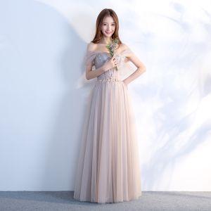 Élégant Gris Robe De Bal 2018 Princesse De l'épaule Manches Courtes Perlage Cristal Faux Diamant Ceinture Longue Volants Dos Nu Robe De Ceremonie