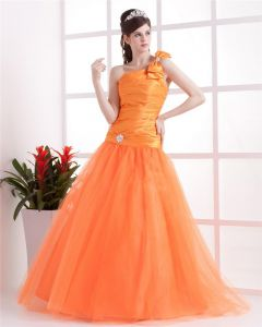 Ball Gown Satin Yarn Ruffle One Shoulder Floor Length Quinceanera Prom Dress