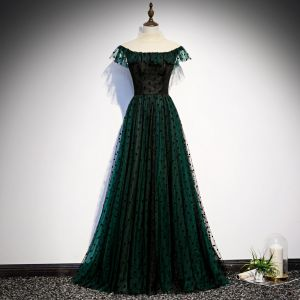 Chic / Beautiful Dark Green See-through Evening Dresses  2020 A-Line / Princess High Neck Sleeveless Spotted Tulle Floor-Length / Long Formal Dresses