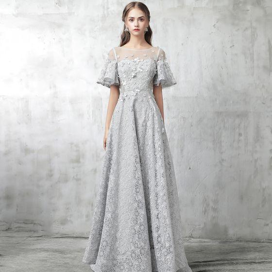 Modern / Fashion Grey Evening Dresses  2017 A-Line / Princess Scoop Neck 1/2 Sleeves Appliques Flower Rhinestone Beading Court Train Ruffle Pierced Backless Formal Dresses
