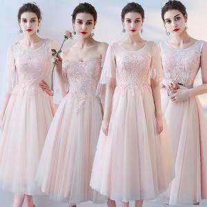 Mooie / Prachtige Blozen Roze Bruidsmeisjes Jurken 2017 A lijn Kant Bloem Ruglooze Tea-length Bruidsmeisjes Jurken Voor Bruiloft