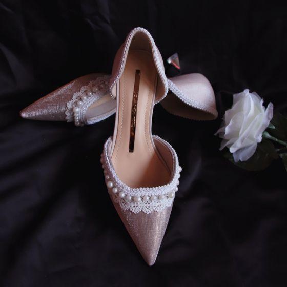 Elegant Lyserød Perle Sandaler Dame 2020 Læder Med Blonder Blomsten Galla 4 cm Stiletter Spidse Tå Sandaler