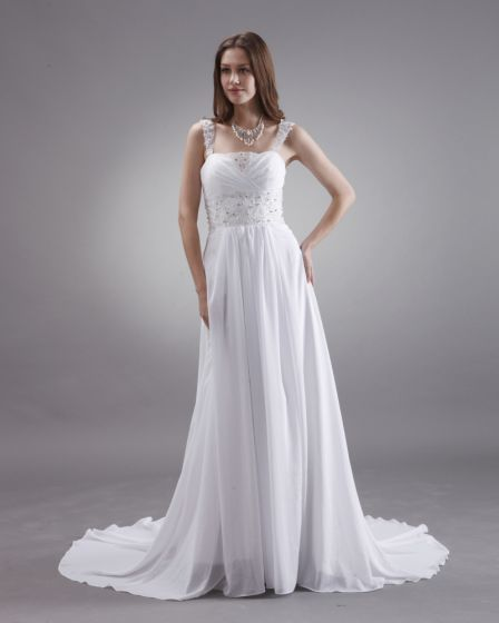 A-line Beaded Spaghetti Straps Sweep Train Satin Chiffon Bridal Gown Wedding Dress