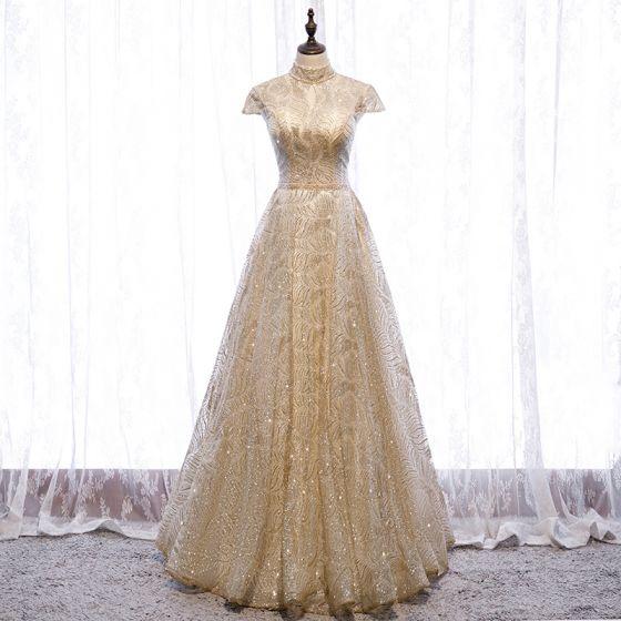 Vintage Gold Tanzen Ballkleider 2020 A Linie Stehkragen Kurze Ärmel Perlenstickerei Glanz Tülle Lange Rüschen Rückenfreies Festliche Kleider