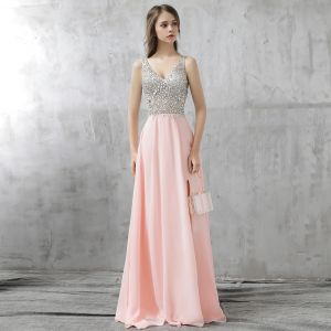 Sparkly Blushing Pink Prom Dresses 2017 Backless Beading Rhinestone Sequins Split Front Floor-Length / Long Chiffon Formal Dresses