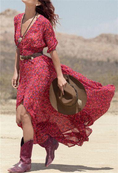 Bohemia Burgundy Casual Maxi Dresses 2018 A-Line / Princess Split Front Printing V-Neck 1/2 Sleeves Tea-length Women's Clothing