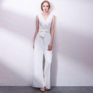 Elegant Ivory Jumpsuit 2019 V-Neck Sleeveless Sash Floor-Length / Long Evening Dresses