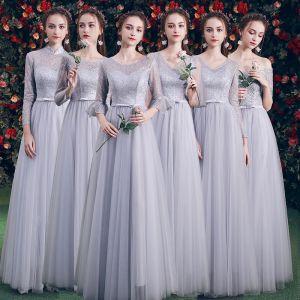 Erschwinglich Grau Brautjungfernkleider 2019 A Linie Schleife Stoffgürtel Lange Rüschen Rückenfreies Kleider Für Hochzeit