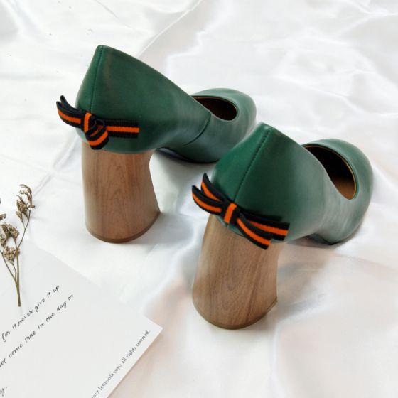 Vintage Dunkelgrün Freizeit Damenschuhe 2018 Schleife 8 cm Thick Heels Runde Zeh Pumps