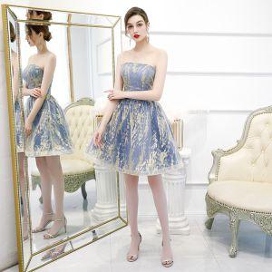 Asequible Océano Azul de fiesta Vestidos de graduación 2020 A-Line / Princess Sin Tirantes Sin Mangas Glitter Tul Cortos Ruffle Sin Espalda Vestidos Formales